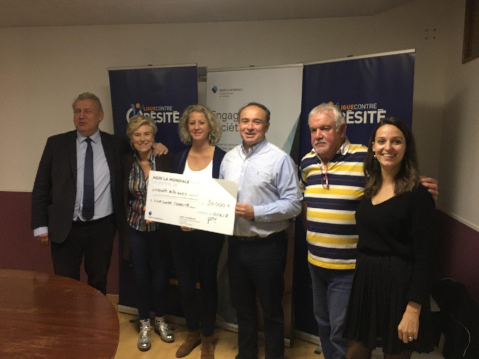 AG2R LA MONDIALE a accordé une subvention de 50 000 € à la Ligue contre l'obésité.
