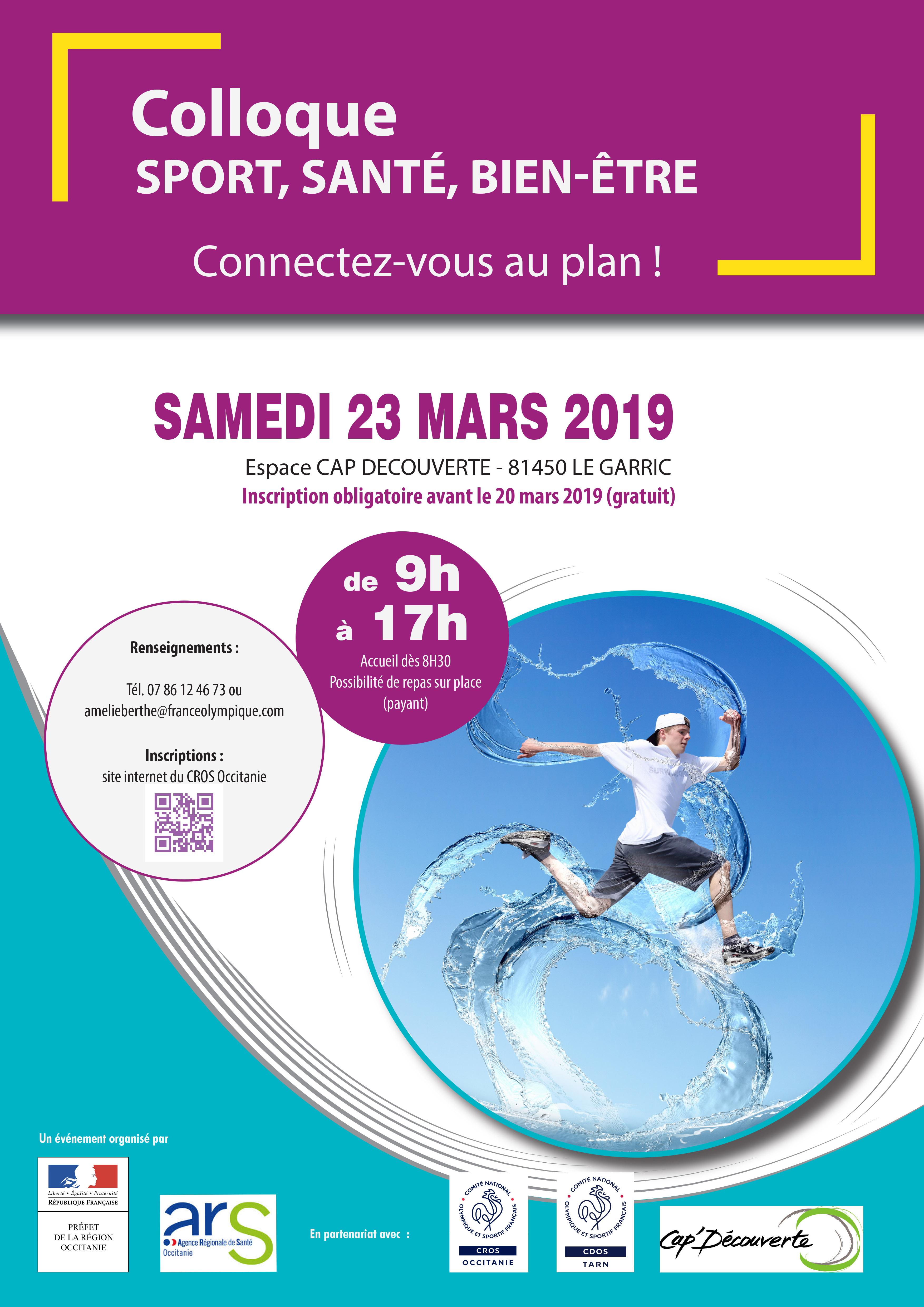 Le CROS Occitanie, sous l'égide de l'ARS Occitanie et de la DRJSCS Occitanie, organise le « Colloque Sport Santé Bien Etre, connectez-vous au plan ».
